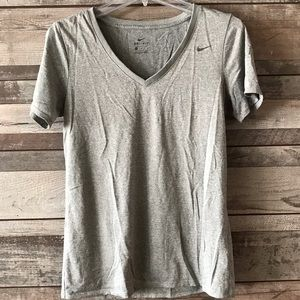 Nike Dri-fit Short Sleeve tee gray v-neck Med.